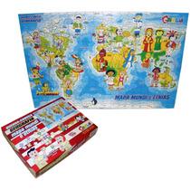 Quebra Cabeça Geografia Mapa Mundi E Etnias 1503 Carlu