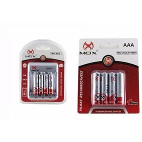 8 Pilhas Recarregável Mox Aaa + Carregador Rápido Bivolt