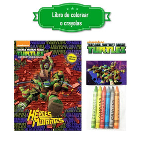 Tortugas Ninja Libro Colorear O Crayolas Recuerdo Bolo