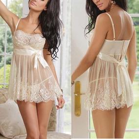 M - Conjunto De Lenceria Sexy Camisa De Dormir Blanca B-8053
