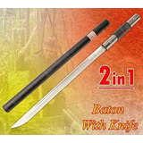 Bastão Faca Metal Espada Baioneta - 3 Em 1 - Tam.gg - C/ Fio