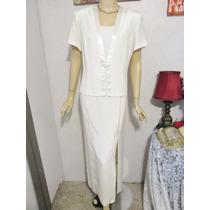Vestido Gala Dama Talla L 12 Usa Color Perla Crema Bodas Xv