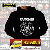 Blusa Moletom Ramones Capuz Bolso Banda Moletons Camisa Rock