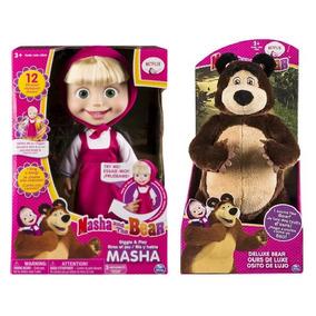 En Español Pareja Masha Habla Parlante 30cm Y El Oso 33cm