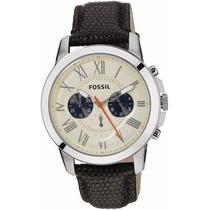 Reloj Fossil Fs5021 Dial Blanco Correa De Cuero Negro Nuevo
