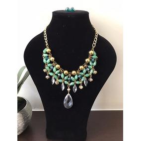 Set Collar Y Aretes Cascada Cristal Cadena Bisuteria Fina