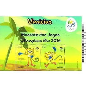 Bloco Olimpiadas Rio 2016 - Mascote Vinicius (2 Selos)