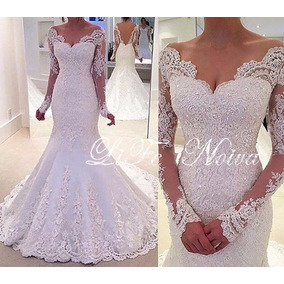 Vestido Noiva Lindo Casamento Sereia Manga Comprida
