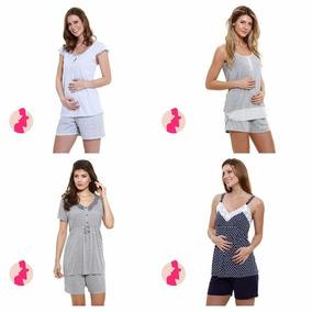 Pijama Gestante Maternidade Amamentação Kit Com 2 Cjtos