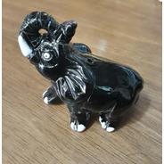 Elefante Preto De Cerâmica Bichos Decorativos Peruanos