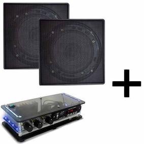 Kit Som Ambiente 2 Arandelas Quadrada Preta + Amplif Bt Casa