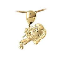 Pingente Menina Em Ouro 18 Quilate C/ Corrente Frete Grátis