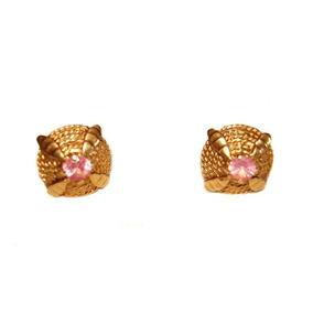 Aros De Oro 18 K Con Piedra Rosa De Francia Repujados
