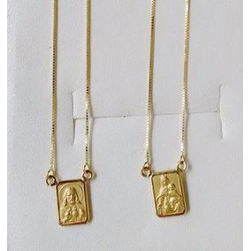 Escapulário De Ouro 18k 60cm Dupla Face Corrente Veneziana