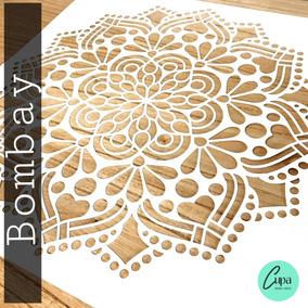 Stencil Mandala Bombay 50x50 Pared Tela Piso Muebles Deco