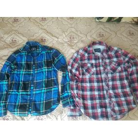 Camisas Americaneagle Manga Larga S Roja Y Azul Hombre