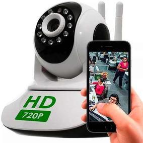 Câmera Ip Sem Fio Hd Wifi Grava Rj45 E Cartão Audio Sd P2p