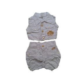 Conjunto Jeans Menina Estilo Lilica Ripilica Bermuda Colete