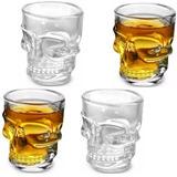 Jogo 4 Copos Caveira Vidro Shot Dose Vodka Skull Tequila Bar