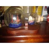 Adorno Barco Dentro De Botella De Cristal Con Base De Madera
