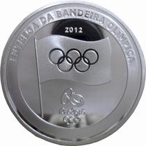Moeda Medalha Bandeira Prata Revestida Olimpiada Rio 2016