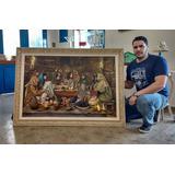 Santa Ceia 80x120cm Pintura Óleo Sobre Tela Granito Artes
