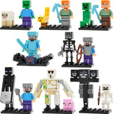 Kit Minifigures Minecraft 8 Bonecos - Esqueleto White