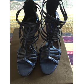 Sandalias Chocolate Azul Metalizado Nuevas N 39 Plat.y Taco