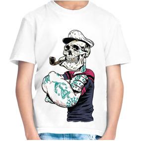 Camiseta Infantil Menino Popai Caveira
