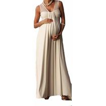 Vestido Longo Gestante Com Detalhe Em Tule Invisível