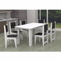 Mesa Com 6 Cadeiras Estofadas Branco/preto - Pronta Entrega