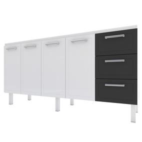 Gabinete Aço Cozinha P/ Pia 180m Branco Ou Preto Cozimax
