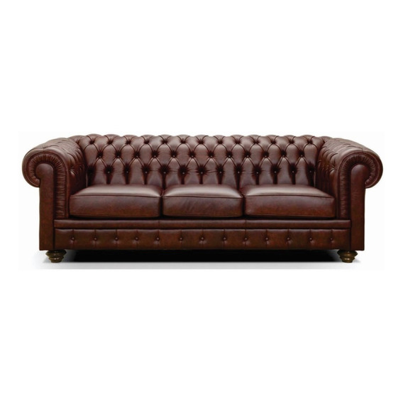 Sillon Sofa Chester De 3 Cuerpos 100% Cuero Arkana Muebles