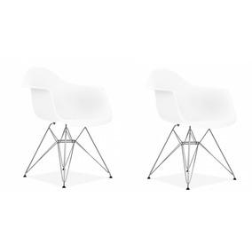 Kit 2x Cadeira Eames Eiffel Com Braços - Base Metal Cromado