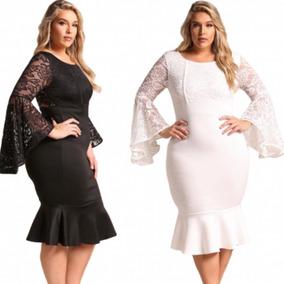 Vestidos Tallas Extras Grande Blanco Negro Manga Moda Encaje