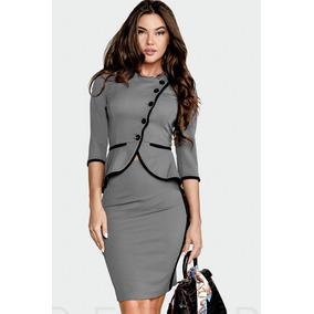 Conjunto Glam - Outerwear Exclusive Ue Gris Saco Pollera