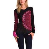 Polera Sweater Desigual Rojo Negro Nuevo Envío Gratis