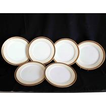 Antiguos 6 Platos En Porcelana Inglesa Cauldon Únicos