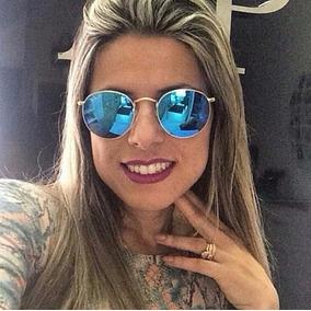 Óculos Redondo Dourado Lente Azul Espelhado Retro +acessorio