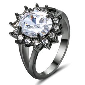 17,5 Anel Feminino Solitário Quartzo Diamante Titânio 617
