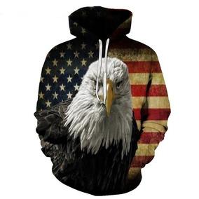 Blusa Casaco 3d Bandeira Estados Unidos Águia Frete Grátis
