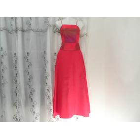 Vestido Largo Color Rojo, Falda Y Corset Talla 5