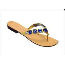 Sandália Rasteira Comfort Com Pedras Azul
