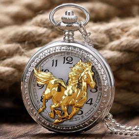 Elegante Reloj De Bolsillo Con Caballo
