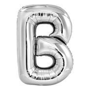 Balão De Ar Metalizado 40cm Prata Letras