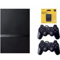Ps2 Slim Destravado C/2 Controles Sony = Game Semi Novo !