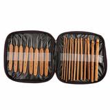 Set De 20 Agujas Crochet De Madera Bamboo + 10 Marcadores