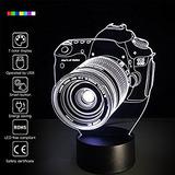 Lampara 3d Ilusion Optica Camara Fotografica 7 Colores