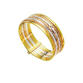 Aliança De Ouro Amarelo, Ouro Branco E Ouro Vermelho 18k 7