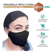 Pack 5 Mascarillas Cobre Triple 3 Capa Antifluidos +zinc